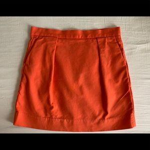 Gap Orange Pleated Mini Skirt w/ Pockets! Size 6P